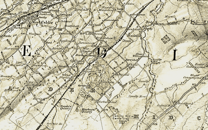 Old map of Whitelea Burn in 1904-1905