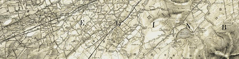 Old map of Whitelea Burn in 1904-1905