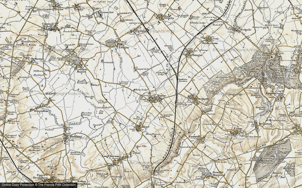 Old Map of Historic Map covering Langar Lodge in 1902-1903