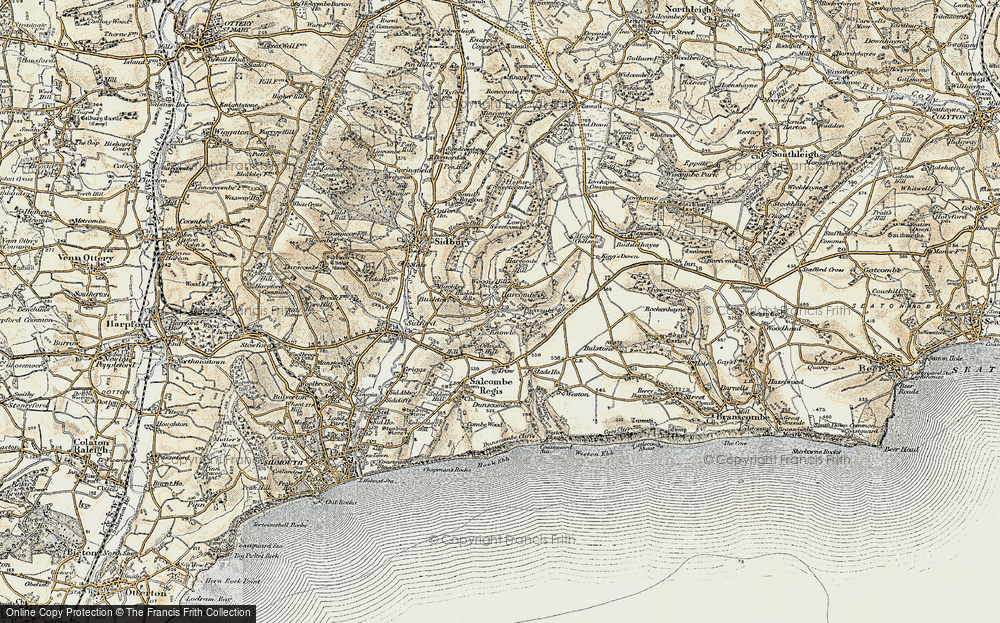Old Map of Harcombe, 1899 in 1899