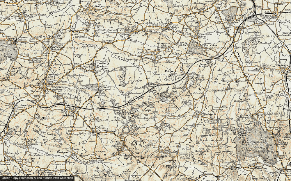 Old Map of Historic Map covering Ashland Hill in 1899