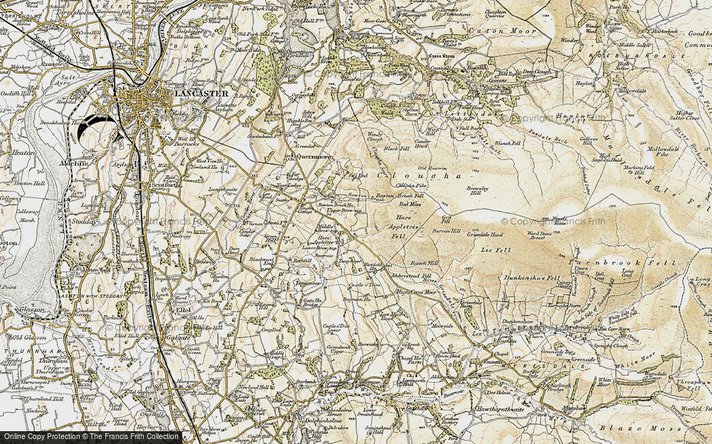 Old Map of Historic Map covering Abbeystead Fell in 1903-1904