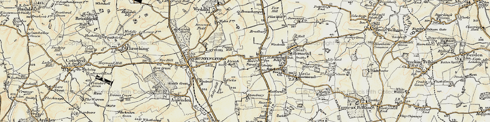 Old map of Hare Street in 1898-1899