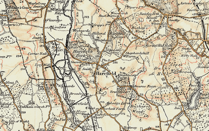 Old map of Harefield in 1897-1898