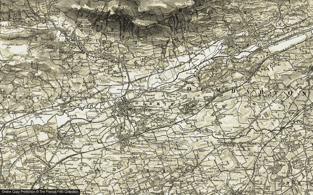 Old Map of Historic Map covering Tintock in 1904-1907