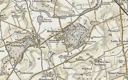 Old map of Harlaxton in 1902-1903