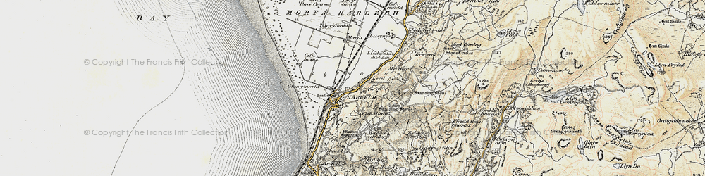 Old map of Harlech in 1903