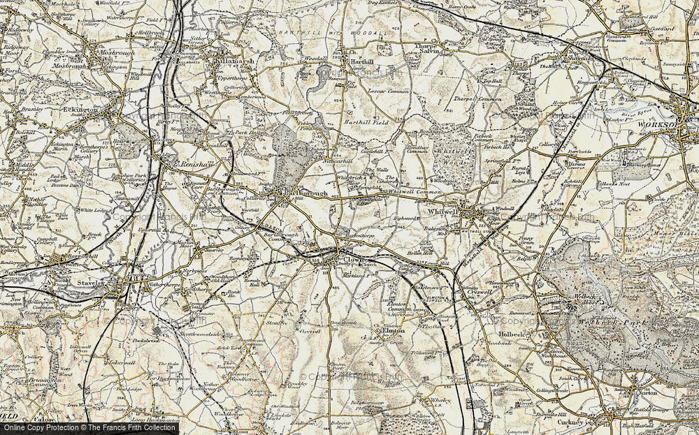 Old Map of Historic Map covering Whitebrick Moor in 1902-1903