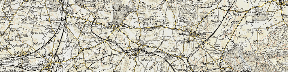 Old map of Whitebrick Moor in 1902-1903