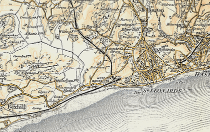 Old map of West St Leonards Sta in 1898