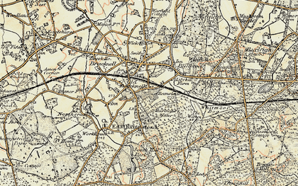 Old map of Harmans Water in 1897-1909