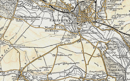 Old map of Harnham in 1897-1898
