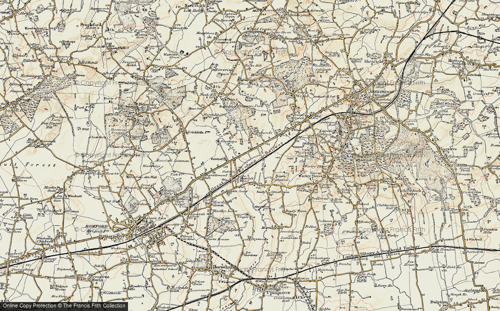 Old Map of Historic Map covering Tylers Common in 1898