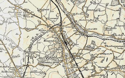 Old map of Harpenden in 1898-1899