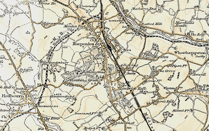Old map of Harpenden Common in 1898