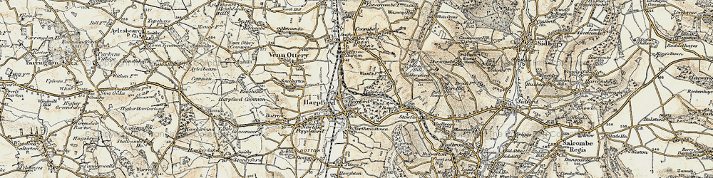 Old map of Harpford in 1899