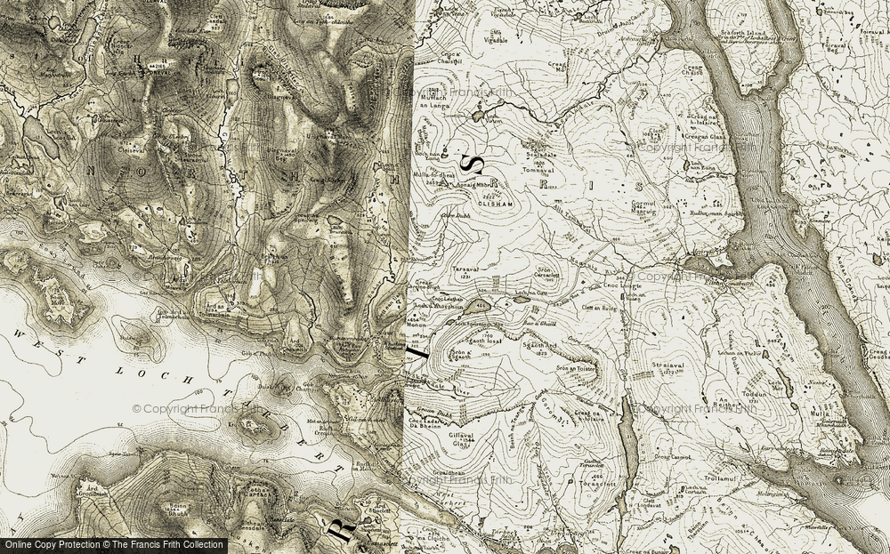 Old Map of Historic Map covering Abhainn Mhàraig in 1908-1911
