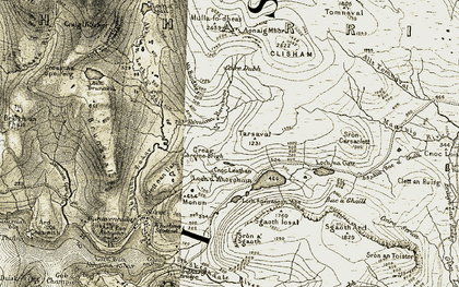 Old map of Allt Bac a' Ghaill in 1908-1911