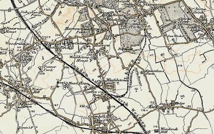 Old map of Harrow Weald in 1897-1898