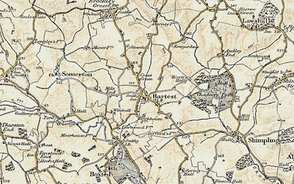 Old map of Hartest in 1899-1901