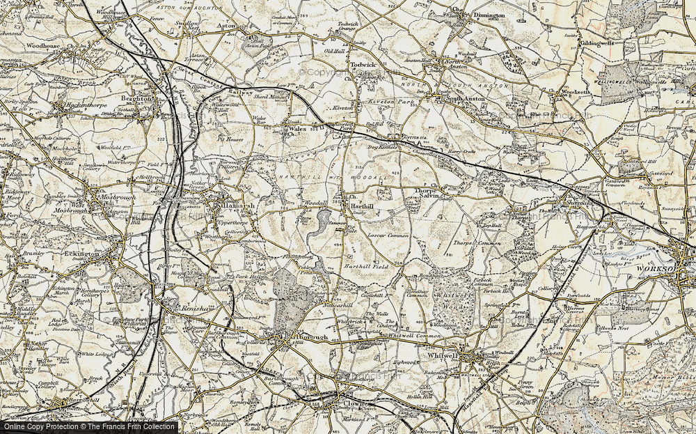 Old Map of Historic Map covering Woodall in 1902-1903