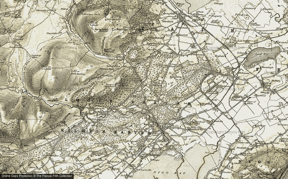 Old Map of Historic Map covering Aldie Water in 1911-1912