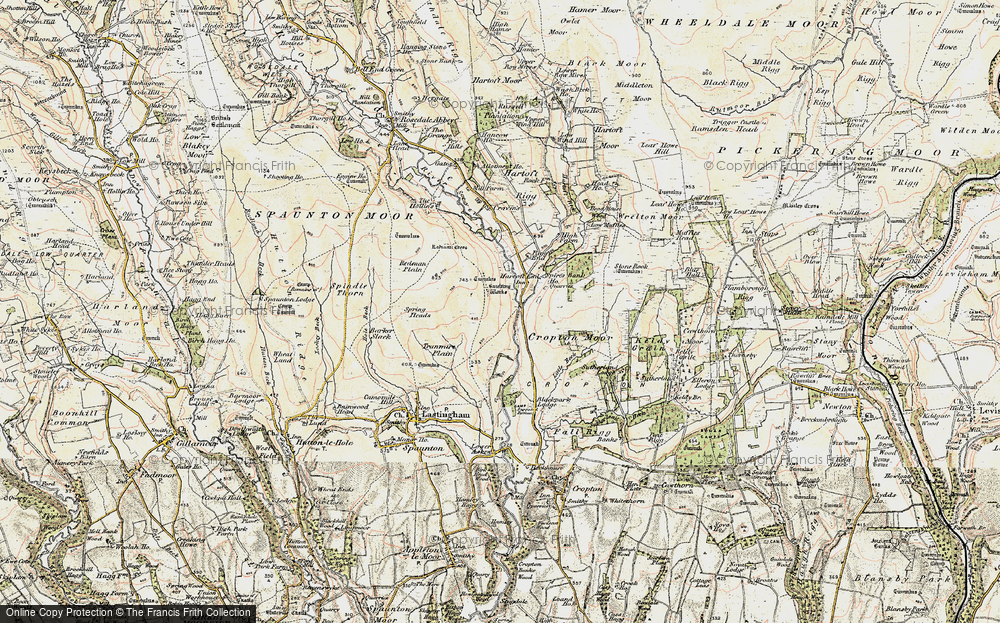 Old Map of Historic Map covering Abraham's Hut (Cairn) in 1903-1904