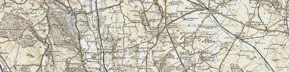 Old map of Woodeaves in 1902