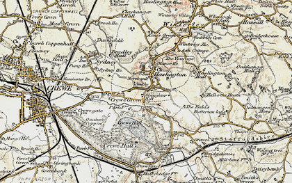 Old map of Haslington in 1902-1903
