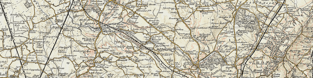 Old map of Hassall Green in 1902-1903