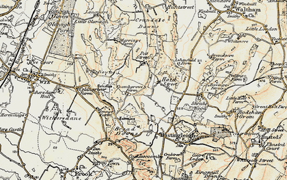 Old map of Wye Downs in 1897-1898