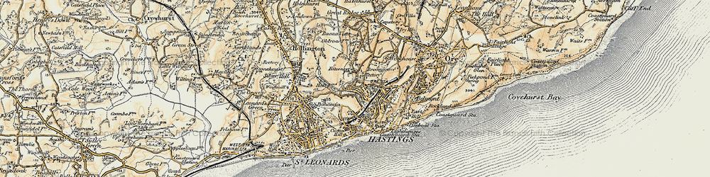 Old map of Hastings in 1898