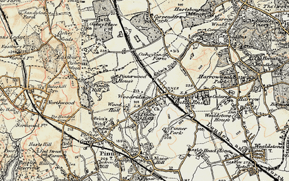 Old map of Hatch End in 1897-1898