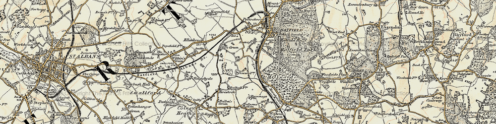 Old map of Hatfield in 1898