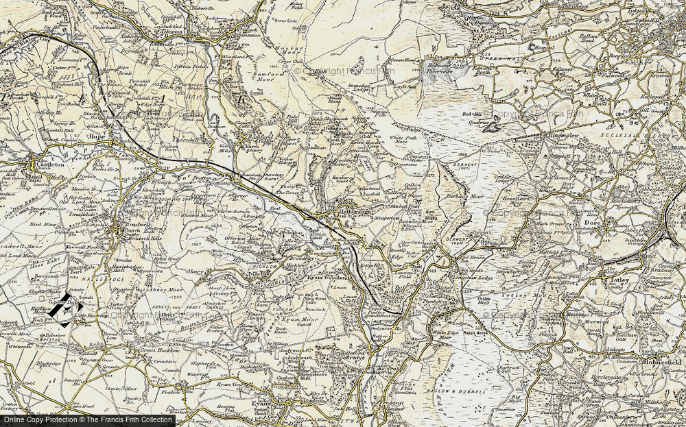 Old Map of Historic Map covering White Path Moss in 1902-1903