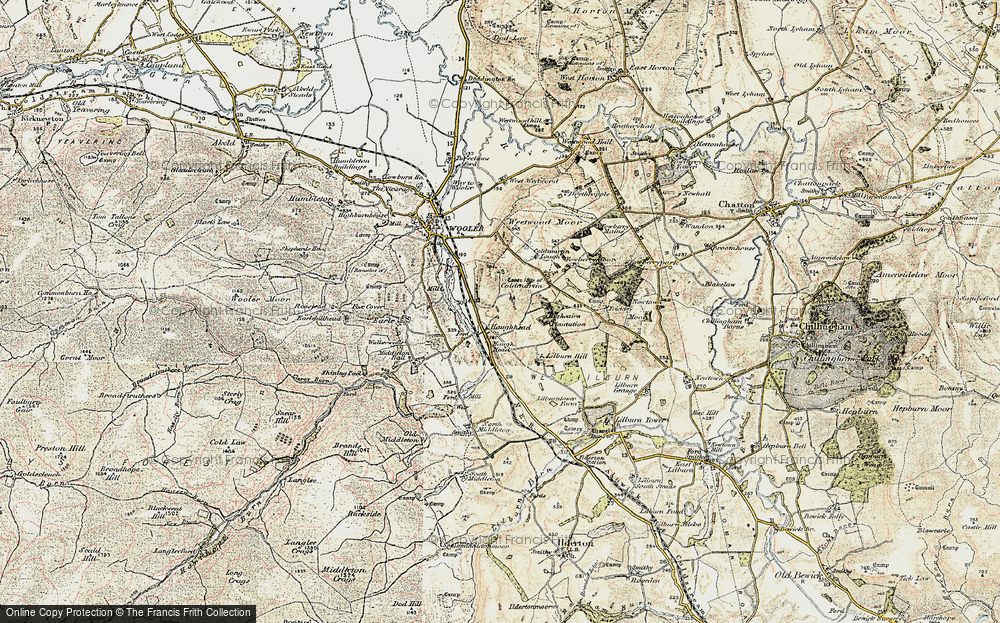 Old Map of Historic Map covering Lilburn Hill in 1901-1903