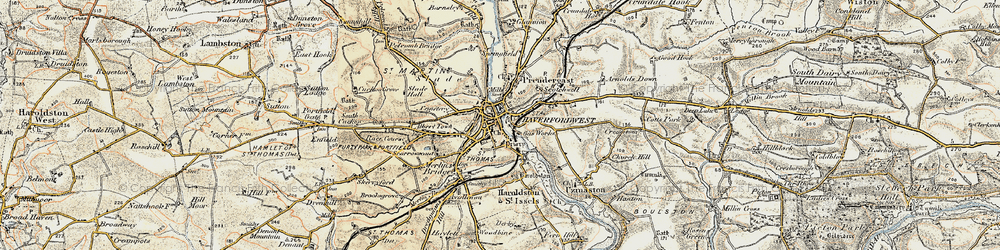 Old map of Haverfordwest in 1901-1912