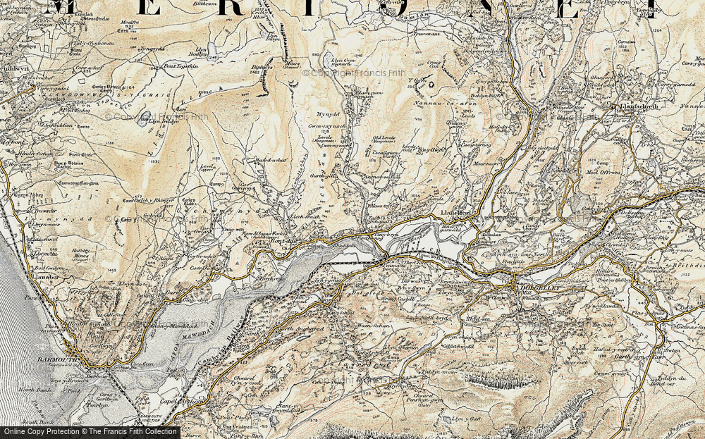 Old Map of Historic Map covering Afon Cwm-mynach in 1902-1903