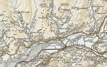 Old map of Afon Cwm-llechen in 1902-1903