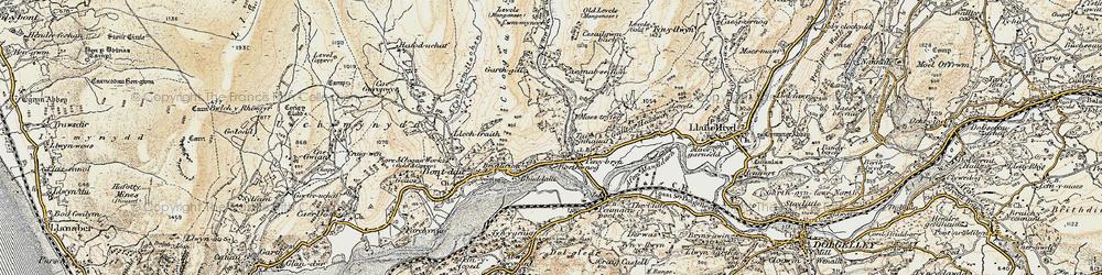 Old map of Afon Cwm-llechen in 1902-1903