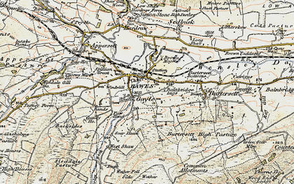 Old map of Hawes in 1903-1904