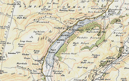 Old map of Whelter Crags in 1901-1904