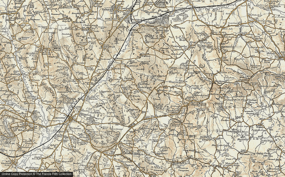 Old Map of Hawkchurch, 1898-1899 in 1898-1899
