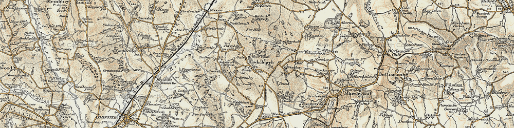 Old map of Hawkchurch in 1898-1899