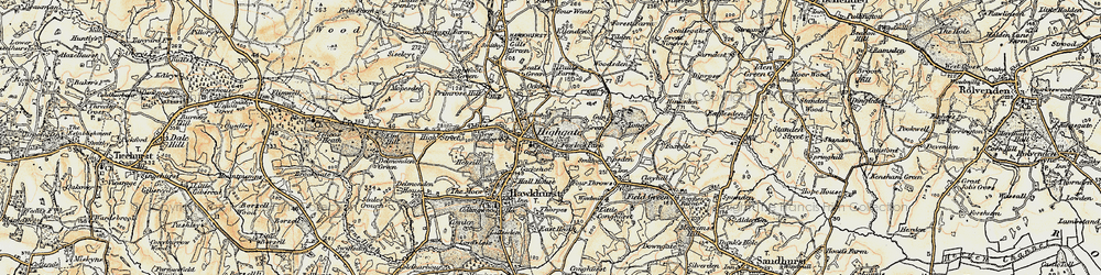 Old map of Hawkhurst in 1898