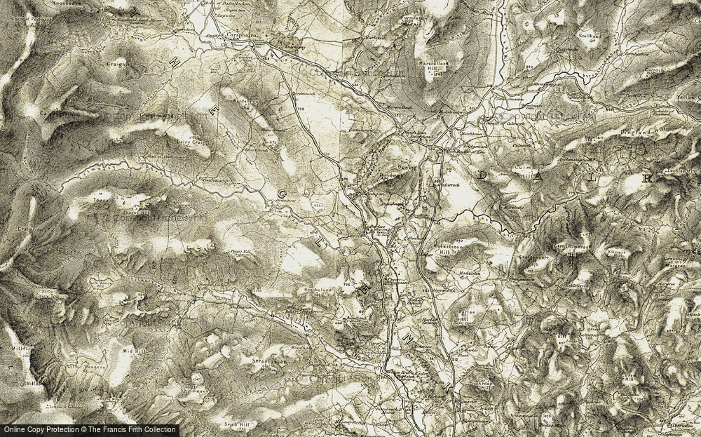 Old Map of Historic Map covering Barlae Hill in 1904-1905