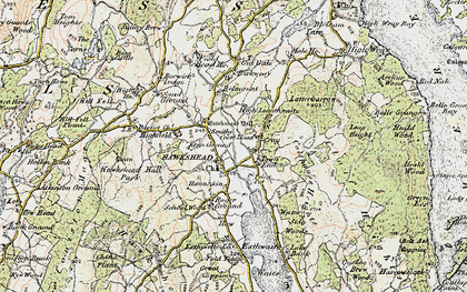 Old map of Hawkshead in 1903-1904