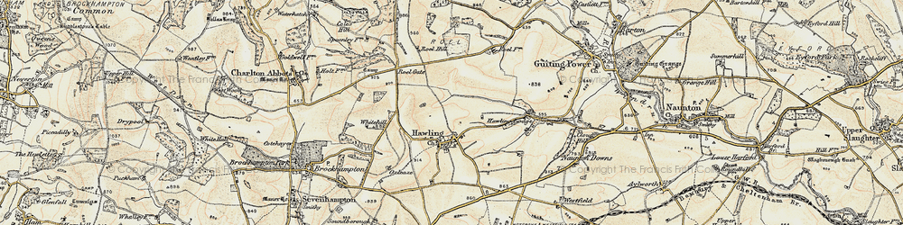 Old map of Windrush Hill in 1898-1900