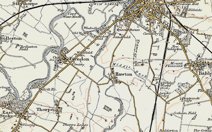 Old map of Hawton in 1902-1903
