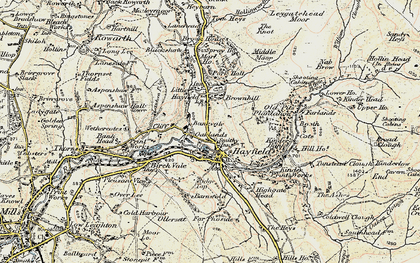 Old map of Hayfield in 1903